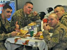 The troops with the 82nd Combat Aviation Brigade had quite a Thanksgiving spread. Soldiers feasted on turkey and all the traditional fixins' at Bagram Airfield. The 82nd CAB runs the only soldier-operated dining facility in that region of Afghanistan.