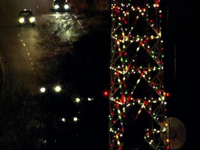 WRAL's tower glows with more than 2,000 Christmas lights.