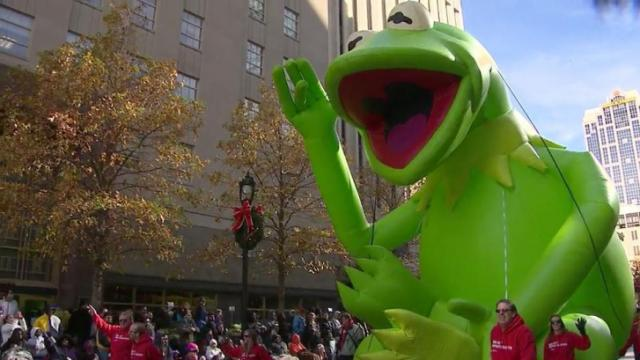 The historic Raleigh Trolley, Premier School of Dance, Kermit the frog on the Red Hat Ampitheater float, the Dance Zone, Popalop's Candy Shop and the Autism Society of North Carolina and the Wake Forest-Rolesville High School marching band step out at the 2012 WRAL Christmas Parade.