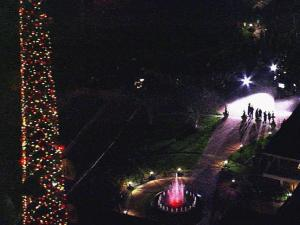 Sky 5 looks over the WRAL Plaza and the tower lit for the holidays.