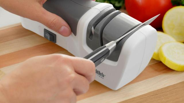 A compact electric knife sharpener is an essential tool for efficient holiday cooks.