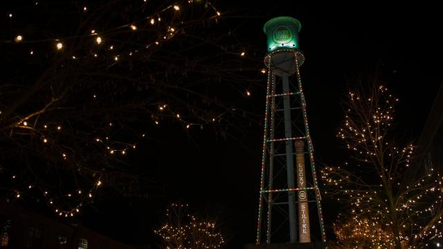 Durham gets in the Christmas spirit during the 11th Annual American Tobacco Tower Lighting in Durham on December 4, 2015.