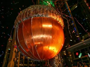 The acorn drops and ireworks light the sky to ring in 2016. Thousands decend on downtown Raleigh to celebrate First Night Raleigh on December 31, 2015. (Chris Baird / WRAL Contributor).
