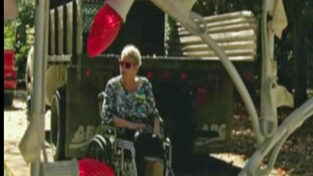 "A Charlotte neighborhood decorated their homes with reindeer, nativity scenes and more for Michelle Fadel, who is known as ""the Christmas lady."""