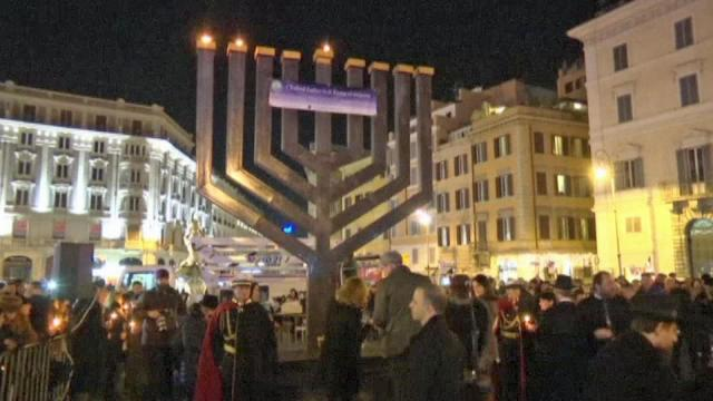 Hundreds gathered in the center of Rome to see the menorah lit to mark the start of Hanukkah.
