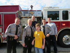 Troopers, deputies, firefighters and paramedics took a detour to visit 12-year-old Landon Loyd on Christmas Day.