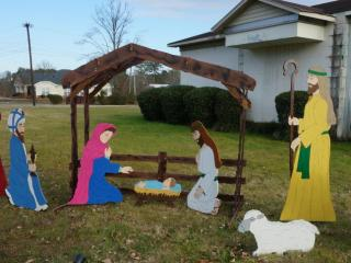 Bill Crosby built and contributed the manger scene to the public display in Butner.