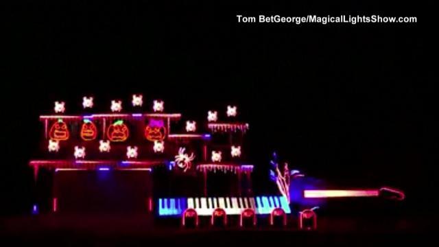 raw calif mans halloween lights draw major attention wralcom