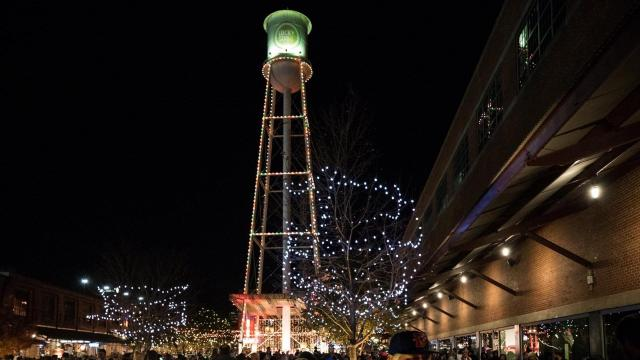 The 13th Annual American Tobacco Tower Lighting, American Tobacco Campus, Durham, N.C., Dec. 1, 2017. (John West/WRAL Contributor)