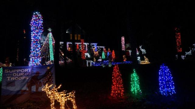 the raleigh couple has over 35000 bulbs in their yard