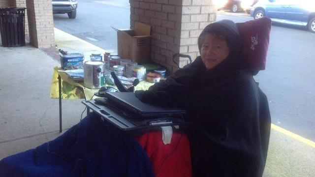 She endures the cold while her husband creates masterpieces.