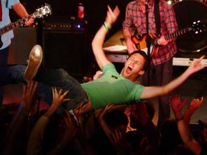 Crowd surfer enjoys the Black Lips at Lincoln Theatre
