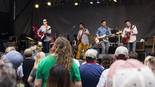 Raleigh's American Aquarium performs on the City Plaza stage during the final night of Hopscotch 2015. (Jake Seaton / WRAL.com)