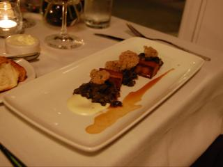 """Oysters """"Mandolin""""- Maple Braised Pork Belly, Parsnip Puree, Mustard Greens, & Pecan-Parmesan-dusted, Fried Oysters"""