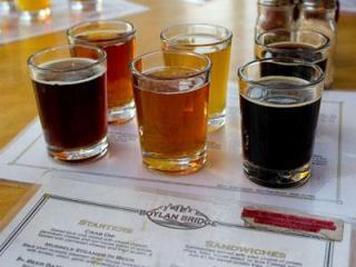A flight of beers at Boylan Bridge Brewpub in Raleigh. (Photo by Richard Mitchell)