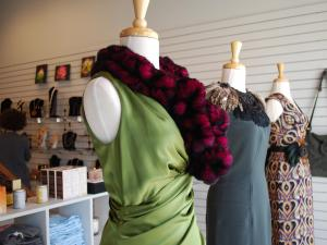 Designer dresses provide to-die-for window dressing for Magpie Boutique in Durham's warehouse district.