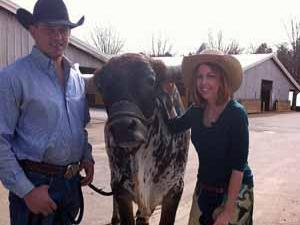 World's Toughest Rodeo's Charlie Barker, TC the bull and Kathy Hanrahan