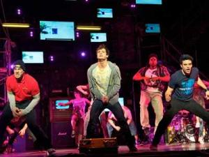 Scott J. Campbell (Tunny), Van Hughes (Johnny) and Jake Epstein (Will) in AMERICAN IDIOT (Image courtesy of American Idiot The Musical)