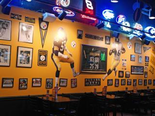 Yes, Overtime's decor really is black and gold, Steelers fans.