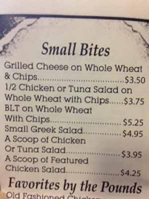Seaboard Cafe's small bites menu