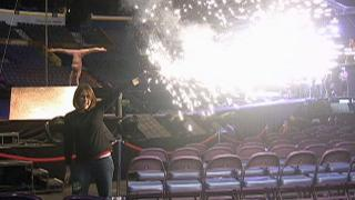WRAL Out & About Editor Kathy Hanrahan tries out some pyrotechnics used in the Cirque du Soleil Michael Jackson Immortal show.