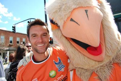 This Carolina Railhawk was in line to get his head shaved for charity.