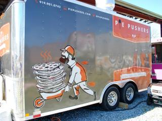 Pie Pushers serves pizza at the Food Truck Rodeo at Durham Central Park on Sunday, March 11, 2012.