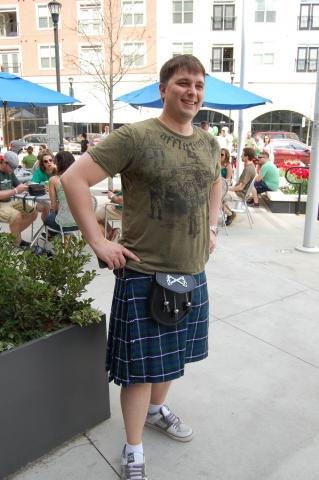 This patron at World of Beer in North Hills decided to wear a kilt for St. Patrick's Day on March 17, 2012.