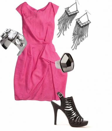 These accessories help turn this work appropriate dress into something perfect for drinks or dinner. (Image courtesy of Tanger Outlet Mall)