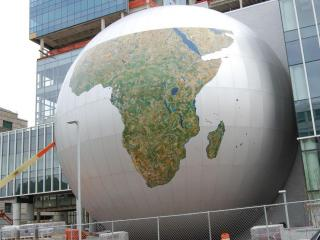 The SECU Daily Planet as it was being constructed.