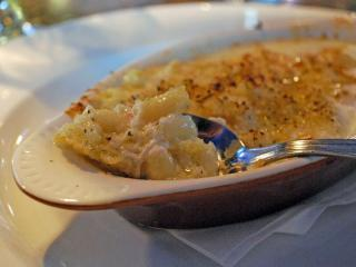 Golden pasta and truffle cream characterize a grown-up mac and cheese at Blu.
