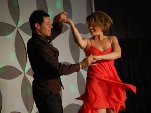 "WRAL's Sloane Heffernan and partner Steve Caballero during the ""Dancing Like the Stars"" competition."