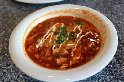 The Turkey and Black Eyed Pea Chili at The Daily Planet Cafe.