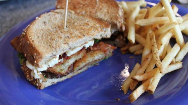 The Fried Green Tomato BLT at The Daily Planet Cafe.