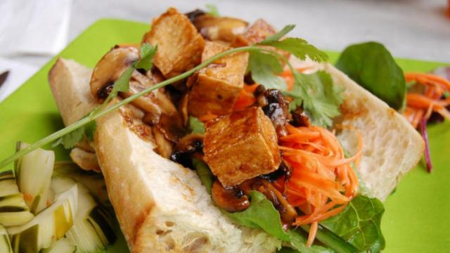 The tofu and mushroom baguette sandwich at Spize Cafe in Raleigh.