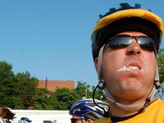 The Doughman Challenge combines a triathlon with competitive eating.
