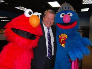 Elmo and Super Grover visited the WRAL newsroom on May 31, 2012.