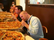 We invited some friends to take on the 24-inch pizza challenge at Ruckus. None could finish, but it was a fun evening.