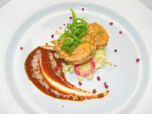 Course 1: Buttermilk Mustard Fried Shrimp with Original Sin Mustard Slaw & Chipotle Mustard Barbecue (Image by Judy Royal)