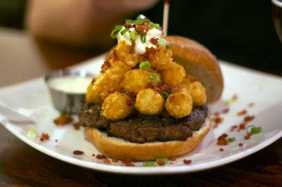 The Loaded Tot Burger at Busy Bee Cafe in Raleigh. (Photos by The Straight Beef)