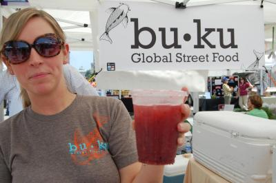 In addition to a chicken wraps, buku was also selling this fresh berry drink at the Raleigh Downtown Farmer's Market.