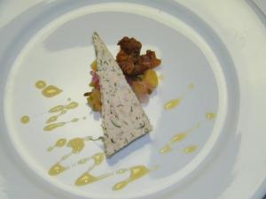 Course 1: Herbed Turkey Terrine with Pineapple Chutney & Turkey Chicharones (Photo by Judy Royal)