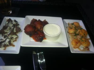 Krave Kobe Steak Tips, Chicken Wings, and Fire Shrimp.