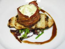 Course 2: Bacon Wrapped Cantaloupe & Goat Cheese Mousse with Balsamic Reduction - Mia Francesca (Photo by Judy Royal)