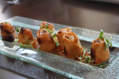 The vegetable spring rolls at ORO in Raleigh.