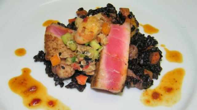 Course 1: Rare Saku Block Tuna with Shrimp, Smoked Bacon Black Fried Rice, Lobster & Shrimp Salad (Photo by Judy Royal)