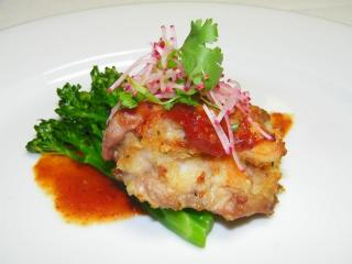 Course 2: NC Shrimp Stuffed Chipotle Honey Glazed Quail Breast with Grilled Broccolini (Photo by Judy Royal)