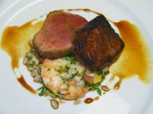 Course 3: Pan Seared Butcher Steak with Shrimp, Farrow Tabouli & Pomegranate Shrimp Reduction (Photo by Judy Royal)