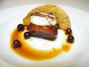 Course 1: Sweet & Salty Braised Pork Belly with Red Miso Grilled Sea Scallop, Ginger Onion Marmalade & Pickled Blueberries. (Photo by Judy Royal.)