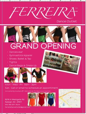 Grand Opening of Ferreira Dance Outlet on Saturday, August 4th. (Picture courtesy of Ferreira)